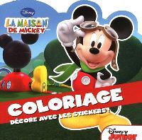 La maison de Mickey, coloriage : décore avec les stickers !