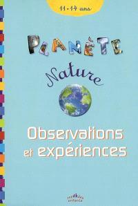 Observations et expériences, 11-14 ans