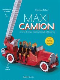 Maxi camion : un camion de pompier en papier, prédécoupé, prêt à assembler