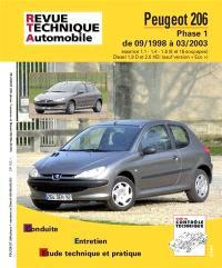 Peugeot 206 : phase 1 de 09-1988 à 03-2003 : essence 1.1, 1.4, 1.6 (8 et 16 soupapes) Diesel 1.9 D et 2.0 HDi (sauf version Eco)
