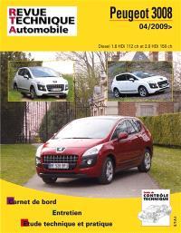 Revue technique automobile. n° B752, Peugeot 3008 1.6-2.0 depuis 04-2009