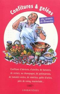 Confitures & gelées : confiture d'abricots, d'airelle, de banane, de cerise, au champagne, de potimarron, de tomates vertes, de violettes, gelée d'orties, pâte de coing, marmelade...