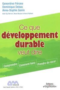 Ce que développement durable veut dire