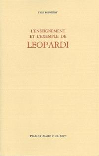 L'enseignement et l'exemple de Leopardi