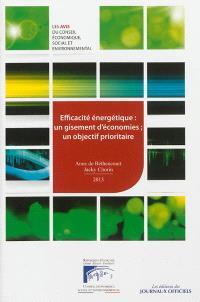 Efficacité énergétique, un gisement d'économies, un objectif prioritaire : mandature 2010-2015, séance des 8 et 9 janvier 2013