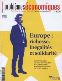 Problèmes économiques N° 3076 Europe : richesse, inégalités et solidarité - La Documentation Française