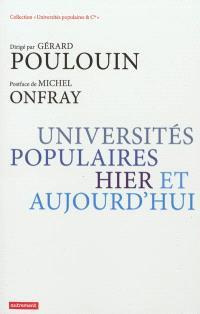 Universités populaires, hier et aujourd'hui
