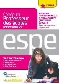 Concours professeur des écoles, épreuve orale n° 2 : situation professionnelle et connaissance du système éducatif : ESPE