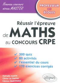Réussir l'épreuve de maths au concours CRPE