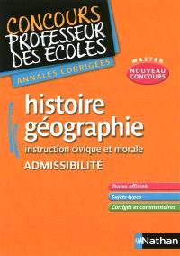 Annales corrigées CRPE histoire géographie, instruction civique et morale, admissibilité : 2011