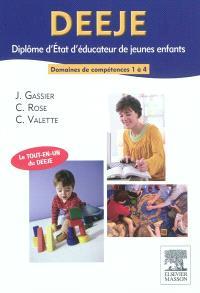 DEEJE, diplôme d'Etat d'éducateur de jeunes enfants : domaines de compétences 1 à 4