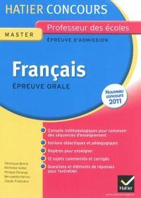 Français, épreuve orale d'admission, master, nouveau concours 2011 : exposé et entretien