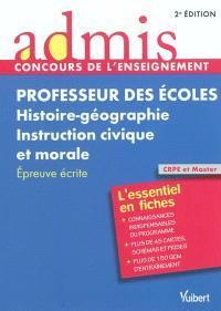 Professeur des écoles, histoire-géographie, instruction civique et morale : épreuve écrite : CRPE et Master