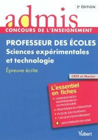 Professeur des écoles, sciences expérimentales et technologie : épreuve écrite : CRPE et Master