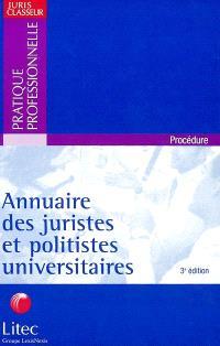 Annuaire des juristes et politistes universitaires
