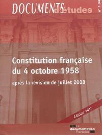 Constitution française du 4 octobre 1958 : après la révision de juillet 2008