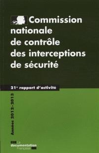 21e rapport d'activité : années 2012-2013