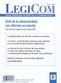 Légicom. n° 45, Droit de la communication, les réformes en marche : actes du Forum Légipresse du 8 octobre 2009