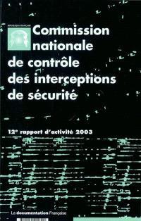 12e rapport d'activité : année 2003