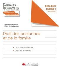 Droit des personnes et de la famille, licence 1 semestre 2 : 2016-2017