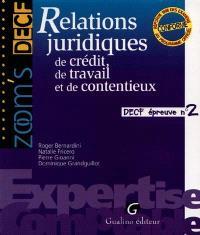 Relations juridiques de crédit, de travail et de contentieux : DECF épreuve n° 2