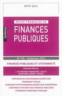 Revue française de finances publiques. n° 135, Finances publiques et citoyenneté