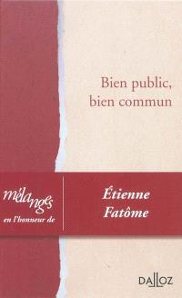 Bien public, bien commun : mélanges en l'honneur d'Etienne Fatôme