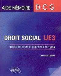 Droit social, UE3 : fiches de cours et exercices corrigés