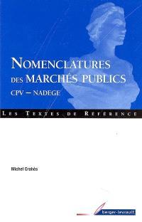 Nomenclatures des marchés publics : CPV-NADEGE