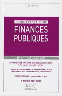 Revue française de finances publiques. n° 111