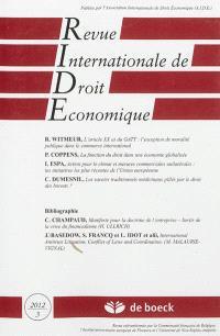 Revue internationale de droit économique. n° 3 (2012)