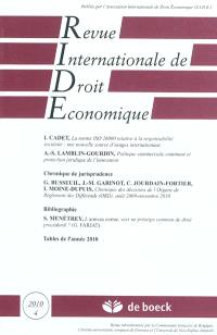 Revue internationale de droit économique. n° 4 (2010)