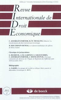 Revue internationale de droit économique. n° 2 (2012)