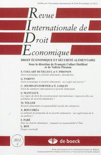 Revue internationale de droit économique. n° 4 (2012), Droit économique et sécurité alimentaire