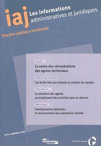Informations administratives et juridiques. n° 9 (2009), La saisie des rémunérations des agents territoriaux