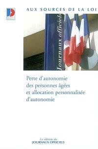Perte d'autonomie des personnes agées et allocation personnalisée d'autonomie