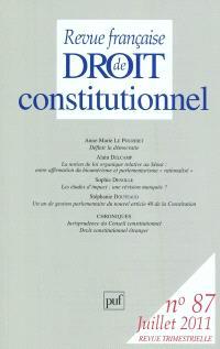 Revue française de droit constitutionnel. n° 87