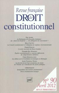 Revue française de droit constitutionnel. n° 90
