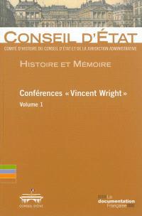 Conférences Vincent Wright. Volume 1