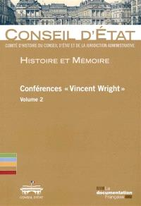 Conférences Vincent Wright. Volume 2