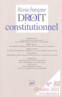 Revue française de droit constitutionnel. n° 88