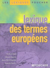 Lexique des termes européens