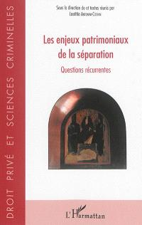 Les enjeux patrimoniaux de la séparation : questions récurrentes