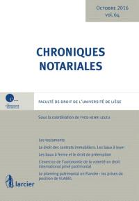 Chroniques notariales. Volume 64