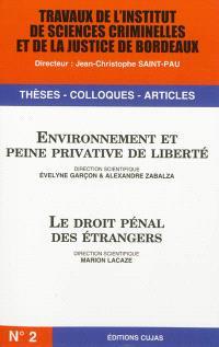 Travaux de l'Institut de sciences criminelles et de la justice de Bordeaux. n° 2, Environnement et peine privative de liberté. Le droit pénal des étrangers
