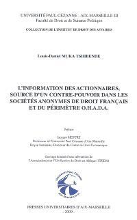 L'information des actionnaires, source d'un contre-pouvoir dans les sociétés anonymes de droit français et du périmètre OHADA