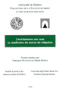 L'enrichissement sans cause : Rome, 24 et 25 octobre 2003; L'arricchimento senza causa. La classification des sources des obligations : Poitiers 29 avril 2005