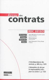 Revue des contrats. n° 3 (2013)