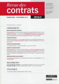 Revue des contrats. n° 3 (2014)