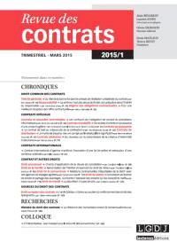 Revue des contrats. n° 1 (2015)
